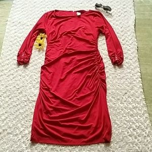 👠Cache rusched long sleeve dress